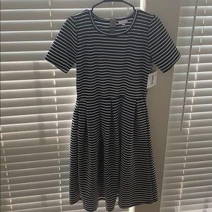 Lularoe black and white striped Amelia